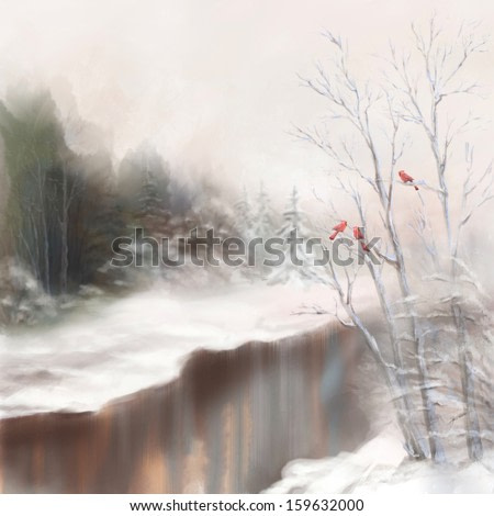 Winter watercolor landscape. Snowy picture scene in mist with snow drifts, trees, river, birds, frost, forest, fir trees. Digital artistic drawing as aquarelle painting