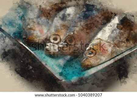 Digital watercolor painting of Fresh sprats fish on serving dish