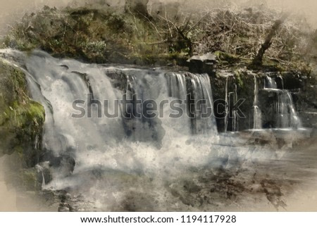Digital watercolour painting of Beautiful waterfall landscape image in forest during Autumn Fall