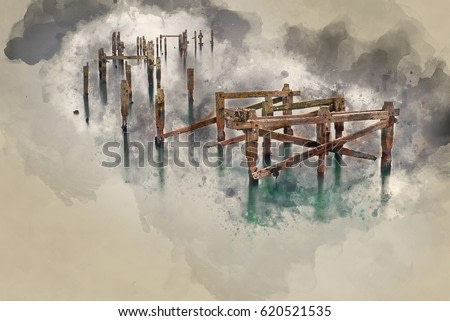 Watercolour painting of landscape of decayed pier