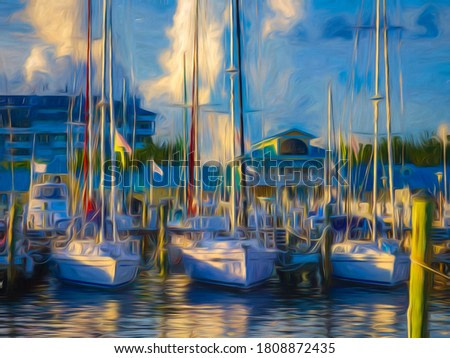 Yachts in coastal marina in sunlight and shadow at sunset, west central Florida, USA, with digital painting effect