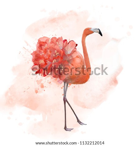 flamingo with flowers , watercolor painting