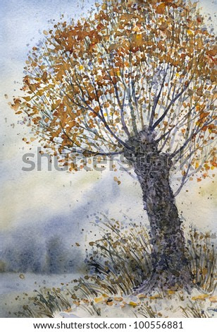 Watercolor landscape. Late autumn. On an old tree on a hill near the field dropped out early snow