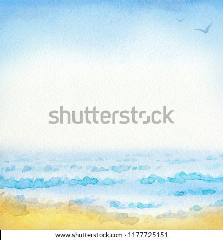 Joyful bright hand drawn watercolour backdrop with space for text on gentle azure heaven. Vibrant romantic breeze day scenic view. Grey cumulus above exotic turquoise bay at seaboard waterside bank
