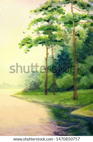 Hand drawn bright watercolour artwork paint sketch on paper backdrop text space on light pink color clouds. Autumn dark rural cloudy mist scene view. Lush fall reed shrub reflect in quiet fog brook