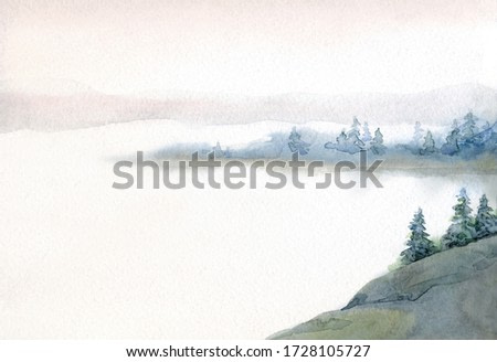Hand drawn watercolour paint sketch on light paper. Text space rural fresh taiga field bush shrub plant rocky land. Quiet cloudy fall life old alp slope park artwork scene. Pond creek bay scenic view