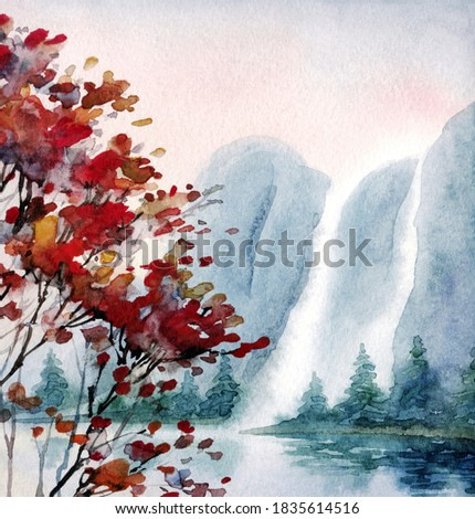 Watercolour paint cloudy haze rocky sea bay scene paper backdrop text space. Hand drawn dark red color mist sky canyon valley cascade creek. Outdoor wild bush plant country view sketch graphic artwork