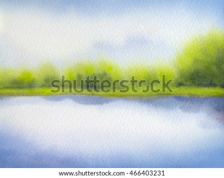 Colorful joyful handmade watercolour on paper backdrop with space for text on azure heaven. Light cyan cumulus over bright green sunlit meadow with lush forest bushes on horizon near clear quiet creek