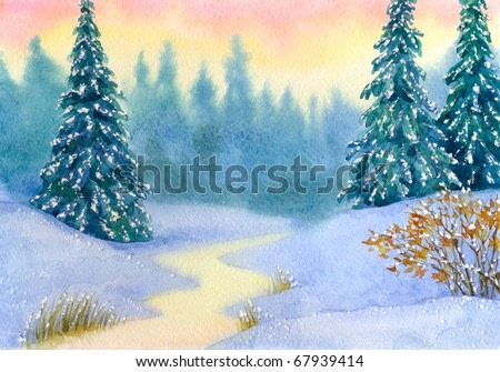 Watercolor landscape. Brook at sunset in a quiet snow-covered spruce forest