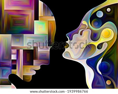 Unlike Minds series. Two human silhouettes with organically and geometrically fragmented interior on subject of inner world, diversity and individual psychology