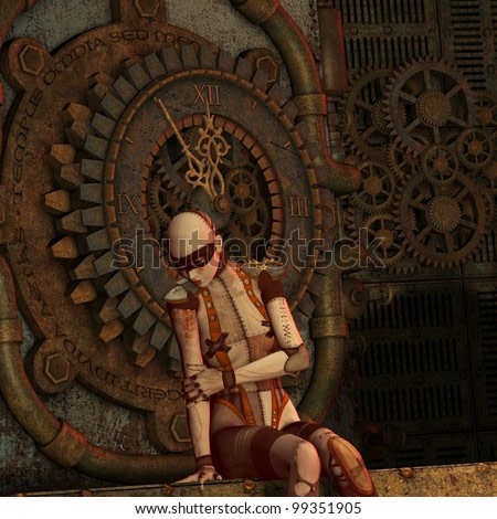 3D Rendering Steampunk thought at the time