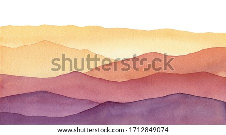 watercolor wavy mountain silhuette , hand painted background with hues of yellow gold and purple shapes