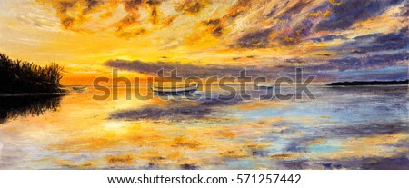 Original oil painting of boat and sea on canvas. Rich golden sunset over ocean.Panorama.Modern Impressionism