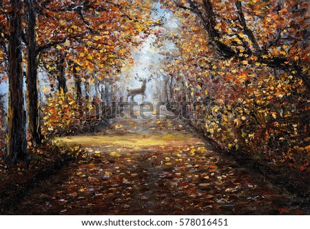 Original  oil painting of beautiful park or forest on canvas.Deer at the end of path.Modern Impressionism, modernism,marinism
