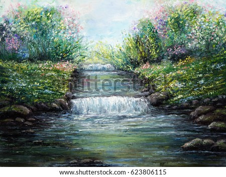 Original oil painting showing spring river and flowers on canvas. Modern Impressionism, modernism,marinism