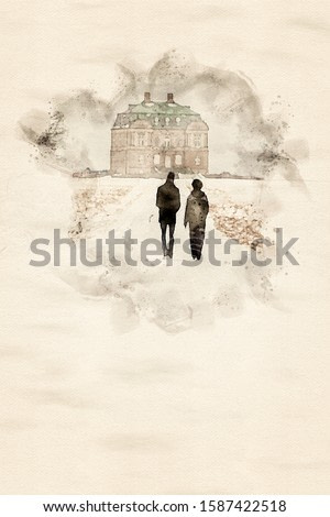 Watercolor painting of silhouettes of two people a man and a woman walking up the avenue to a small palace in a public park during winter time. Illustration with copy space.