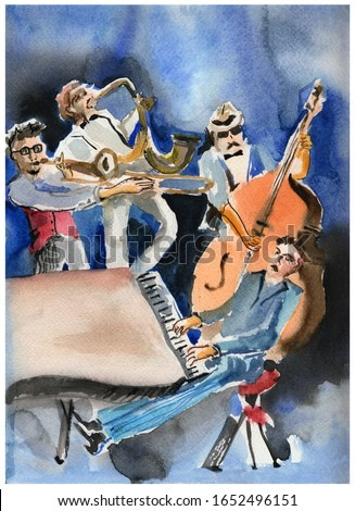 The Quartet of musicians in sketch-style watercolors