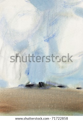 Abstract watercolor landscape. Field under a cloudy sky. Paper.Watercolor.