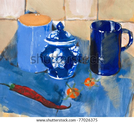Painting. Still life with blue cups and pepper on a blue napkin