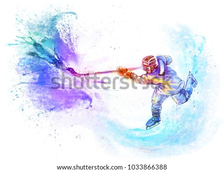 Winter sport - Hockey. Athlete is hitting with a stick on goal. Dynamic bright watercolor