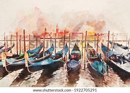 Watercolor painting of gondolas on Grand Canal in Venice, Italy. Artistic picture