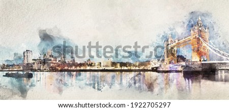 Watercolor painting of London panorama with Tower Bridge. Artistic picture
