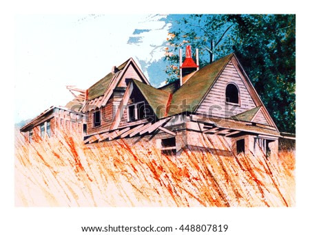 A deserted, abandoned, broken down, old, home still sits majestically in long tall grass