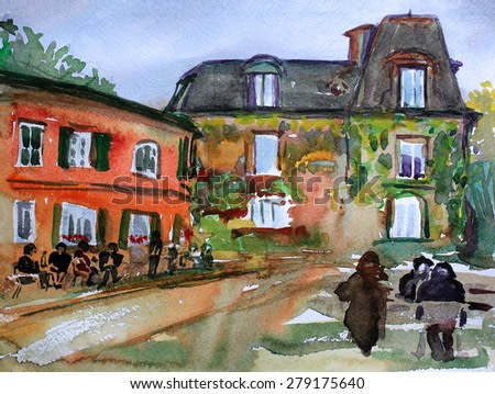 Watercolor painting of the Montmartre, in Paris city, France.