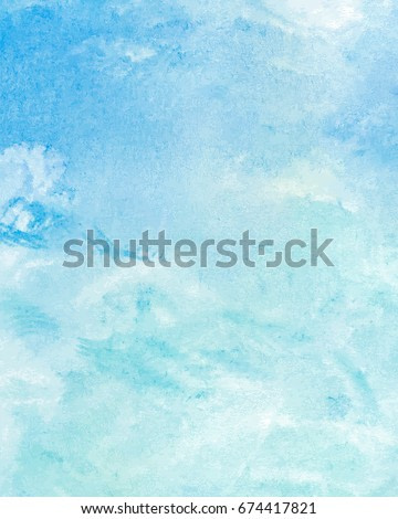 Sky with clouds and blue sea water, abstract hand painted watercolor background, vector illustration