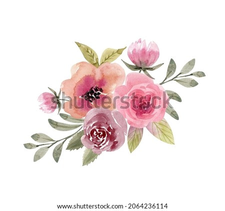 watercolor bouquet of bright multi-colored flowers of roses on a white background. hand painted for design and invitations.