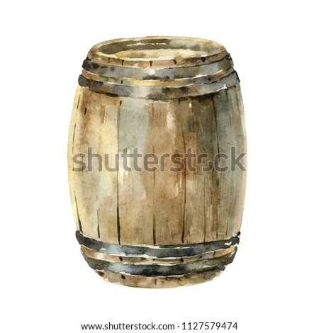 Wooden wine barrel isolated on white background. Watercolor illustration. Can be used for menu design and other projects