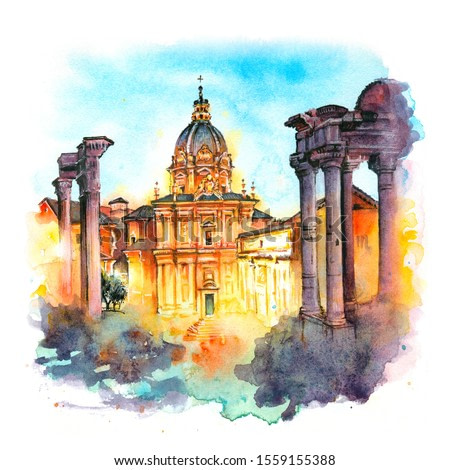 Watercolor sketch of ancient ruins of a Roman Forum or Foro Romano at sunsrise in Rome, Italy. View from Capitoline Hill