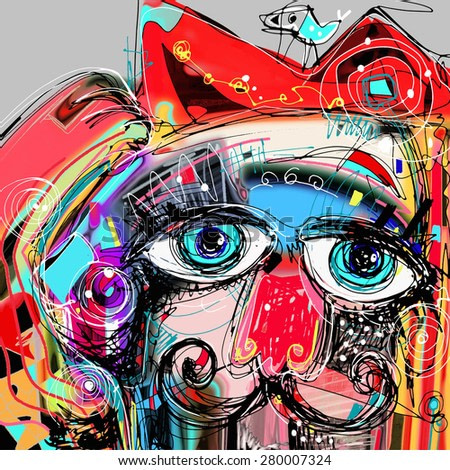 abstract digital artwork painting portrait of cat  mustaches with a bird on a head, doodle art  raster version illustration