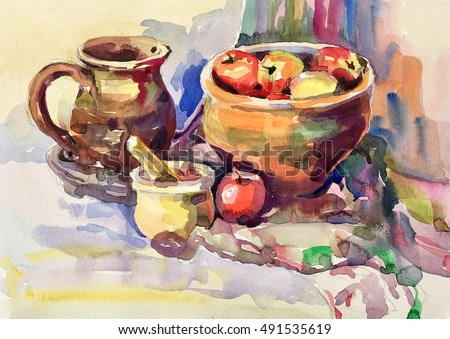 watercolor painting of still life with vintage tableware, apples, jug, mill and bowl, aquarelle sketch illustration