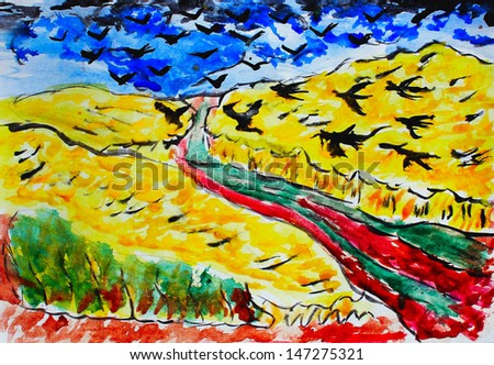 watercolor drawing of a yellow field with a blue sky and crows black birds, painting in the style of Van Gogh