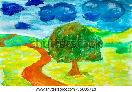 landscape style of Van Gogh watercolor road through field on left green tree and clouds background
