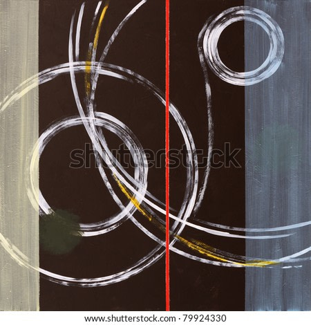 One of a series of abstract paintings constructed from concentric circles.