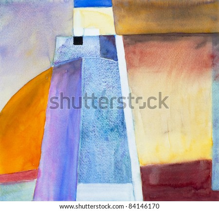 abstracted landscape/seascape watercolor painting