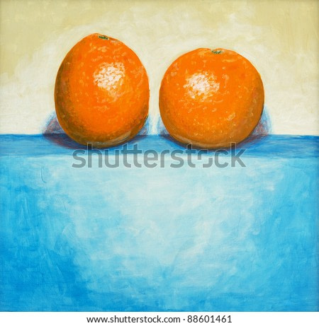 a still life painting of two oranges