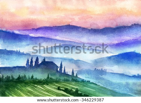 Italy mountains landscape. Watercolor illustration.