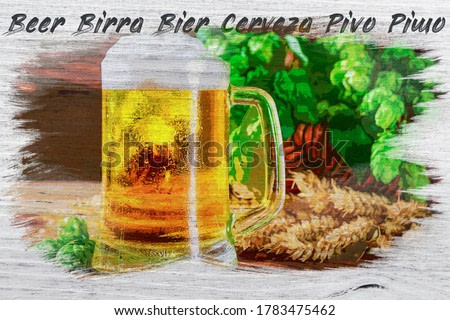 Watercolor painting of beer and beer word in different languages