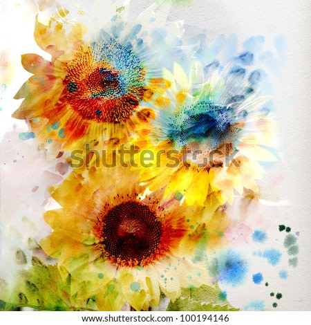 Watercolor painting. expressive sunflowers