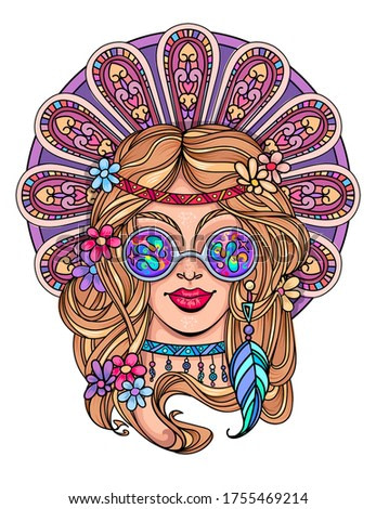 Sexy hippie girl  in glasses shows victory sign and peace and love. Vector colorful background in pop art retro comic style.  Symbol pacificism freedom and love