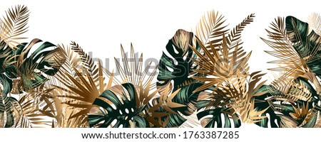 Tropical golden and emerald leaves seamless pattern border frame with vector image