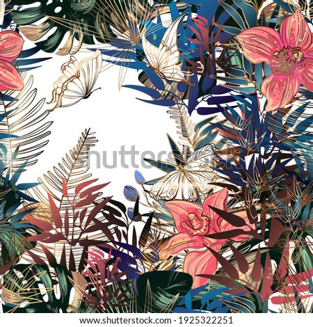 golden and green tropical leaves with orchids and butterflies. Seamless pattern in the style of Jungalow and Hawaii. Botanical background.