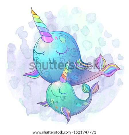 Cute fairy whale unicorns. The mother and baby.  Watercolor. Vector.