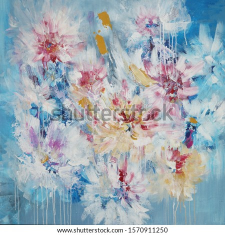 Beautiful floral abstract painting, original art, good quality photo