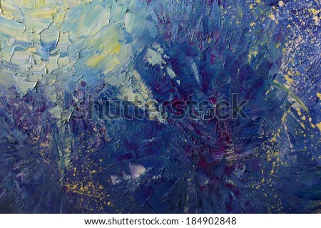 abstract painting with oil paints  on canvas, bright colors