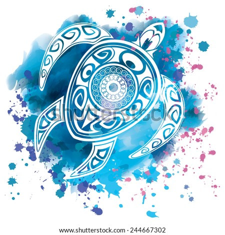 Vector illustration of a totem animal - turtle - in a maori tattoo style on a watercolor background