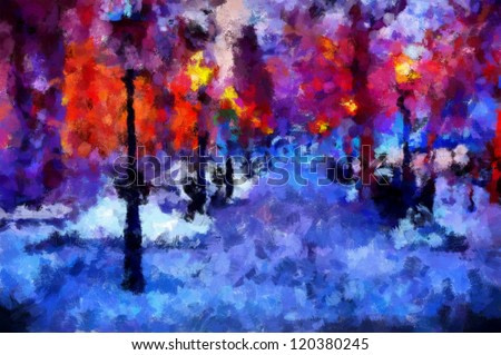 Digital structure of painting. Watercolor impressionistic city